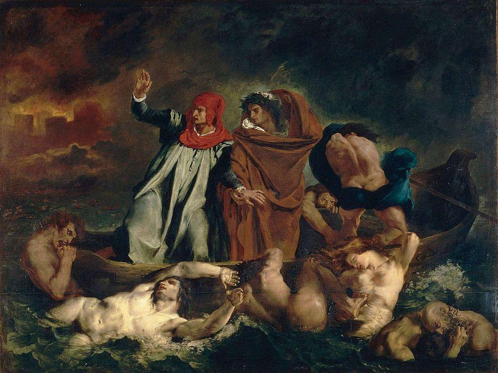 Pictura de Eugène Delacroix, Divina Comedie de Dante, Infernul, Sursa Wikipedia.