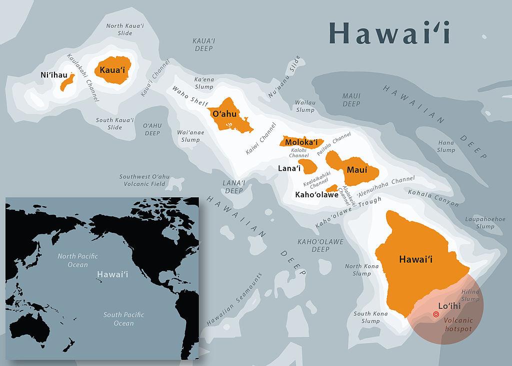 Harta Hawaii. Autor Mapbliss, sursa Wikipedia.