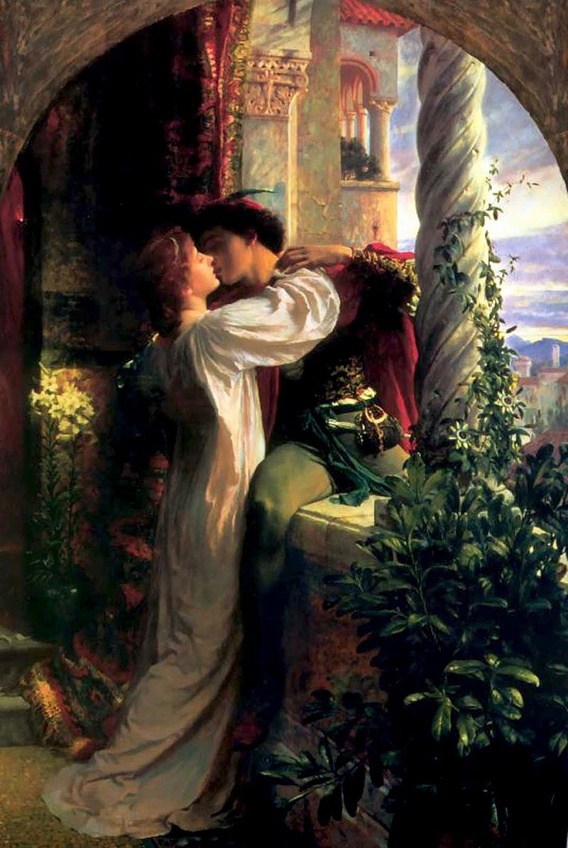 Archetypal lovers Romeo and Juliet portrayed by Frank Dicksee Reprezentarea scenei celebre din balcon cu Romeo si Julieta, pictura de Frank Dicksee, Wikipedia.