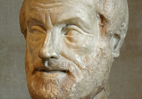Portretul lui Aristotel. Copie romana din epoca imperiala, sec.1 sau 2 dupa o sculptura din bronz pierduta facuta de Lysippos. Muzel Louvre, Paris, colectia Borghese, sursa Wikipedia, foto Eric Gaba.